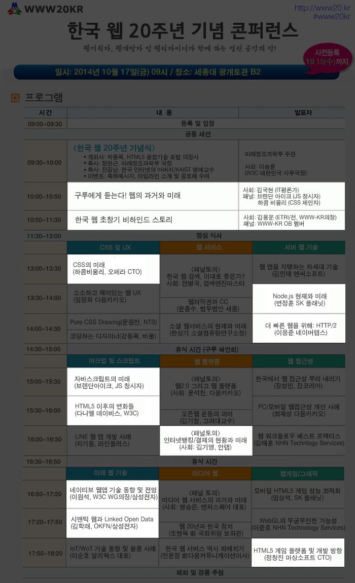한국 웹 20주년 컨퍼런스 청취세션